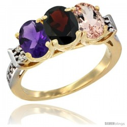 10K Yellow Gold Natural Amethyst, Garnet & Morganite Ring 3-Stone Oval 7x5 mm Diamond Accent