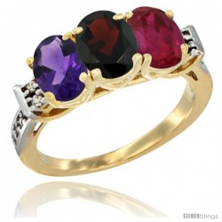 10K Yellow Gold Natural Amethyst, Garnet & Ruby Ring 3-Stone Oval 7x5 mm Diamond Accent