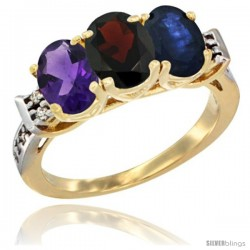 10K Yellow Gold Natural Amethyst, Garnet & Blue Sapphire Ring 3-Stone Oval 7x5 mm Diamond Accent