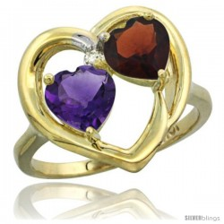10k Yellow Gold 2-Stone Heart Ring 6mm Natural Amethyst & Garnet