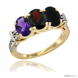 10K Yellow Gold Natural Amethyst, Garnet & Black Onyx Ring 3-Stone Oval 7x5 mm Diamond Accent