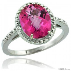 Sterling Silver Diamond Natural Pink Topaz Ring 2.4 ct Oval Stone 10x8 mm, 1/2 in wide -Style Cwg06111