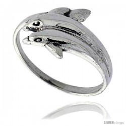 Sterling Silver Double Dolphin Polished Ring 1/2 in wide -Style Tr629