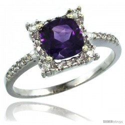 10k White Gold Diamond Halo Amethyst Ring 1.2 ct Checkerboard Cut Cushion 6 mm, 11/32 in wide