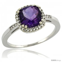 10k White Gold Diamond Amethyst Ring 1.5 ct Checkerboard Cut Cushion Shape 7 mm, 3/8 in wide