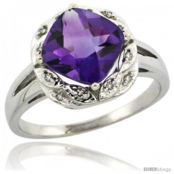 10k White Gold Diamond Halo Amethyst Ring 2.7 ct Checkerboard Cut Cushion Shape 8 mm, 1/2 in wide