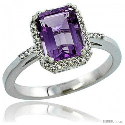 10k White Gold Diamond Amethyst Ring 1.6 ct Emerald Shape 8x6 mm, 1/2 in wide -Style Cw901129