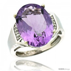 10k White Gold Diamond Amethyst Ring 9.7 ct Large Oval Stone 16x12 mm, 5/8 in wide