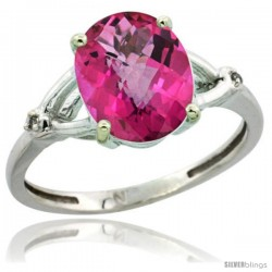 Sterling Silver Diamond Natural Pink Topaz Ring 2.4 ct Oval Stone 10x8 mm, 3/8 in wide