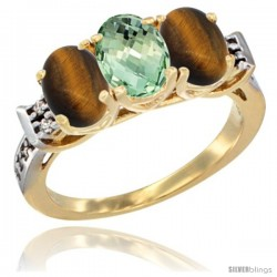10K Yellow Gold Natural Green Amethyst & Tiger Eye Sides Ring 3-Stone Oval 7x5 mm Diamond Accent