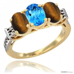 10K Yellow Gold Natural Swiss Blue Topaz & Tiger Eye Sides Ring 3-Stone Oval 7x5 mm Diamond Accent