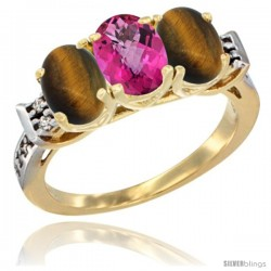 10K Yellow Gold Natural Pink Topaz & Tiger Eye Sides Ring 3-Stone Oval 7x5 mm Diamond Accent