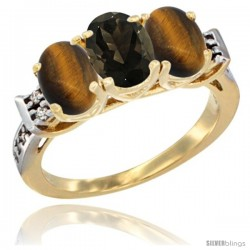 10K Yellow Gold Natural Smoky Topaz & Tiger Eye Sides Ring 3-Stone Oval 7x5 mm Diamond Accent