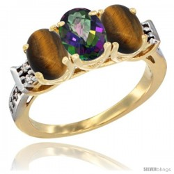 10K Yellow Gold Natural Mystic Topaz & Tiger Eye Sides Ring 3-Stone Oval 7x5 mm Diamond Accent