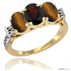 10K Yellow Gold Natural Garnet & Tiger Eye Sides Ring 3-Stone Oval 7x5 mm Diamond Accent