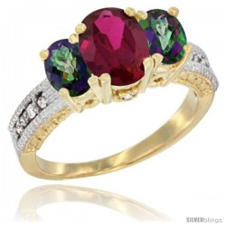 14k Yellow Gold Ladies Oval Natural Ruby 3-Stone Ring with Mystic Topaz Sides Diamond Accent