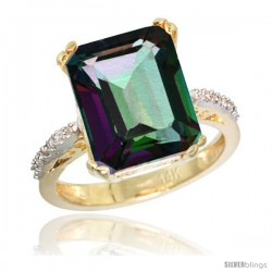 14k Yellow Gold Diamond Mystic Topaz Ring 5.83 ct Emerald Shape 12x10 Stone 1/2 in wide