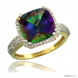 14k Yellow Gold Diamond Halo Mystic Topaz Ring Checkerboard Cushion 11 mm 5.85 ct 1/2 in wide