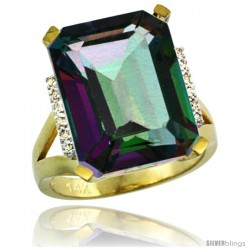 14k Yellow Gold Diamond Mystic Topaz Ring 12 ct Emerald Cut 16x12 stone 3/4 in wide