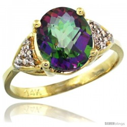 14k Yellow Gold Diamond Mystic Topaz Ring 2.40 ct Oval 10x8 Stone 3/8 in wide