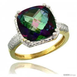 14k Yellow Gold Diamond Mystic Topaz Ring 5.94 ct Checkerboard Cushion 11 mm Stone 1/2 in wide