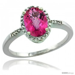 Sterling Silver Diamond Natural Pink Topaz Ring 1.17 ct Oval Stone 8x6 mm, 3/8 in wide