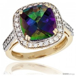 14k Yellow Gold Diamond Halo Mystic Topaz Ring Cushion Shape 10 mm 4.5 ct 1/2 in wide