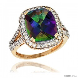 14k Yellow Gold Diamond Halo Mystic Topaz Ring Checkerboard Cushion 12x10 4.8 ct 3/4 in wide