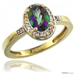 14k Yellow Gold Diamond Mystic Topaz Ring 1 ct 7x5 Stone 1/2 in wide