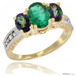 14k Yellow Gold Ladies Oval Natural Emerald 3-Stone Ring with Mystic Topaz Sides Diamond Accent