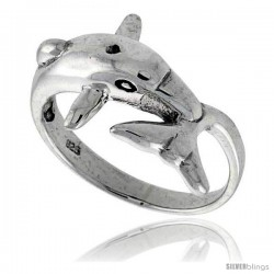Sterling Silver Dolphin Polished Ring 1/2 in wide