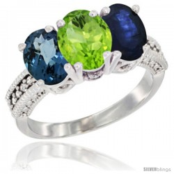 14K White Gold Natural London Blue Topaz, Peridot & Blue Sapphire Ring 3-Stone 7x5 mm Oval Diamond Accent