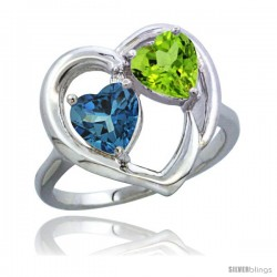 14k White Gold 2-Stone Heart Ring 6mm Natural London Blue Topaz & Peridot Diamond Accent