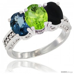 14K White Gold Natural London Blue Topaz, Peridot & Black Onyx Ring 3-Stone 7x5 mm Oval Diamond Accent