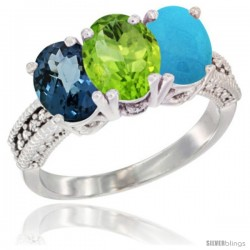 14K White Gold Natural London Blue Topaz, Peridot & Turquoise Ring 3-Stone 7x5 mm Oval Diamond Accent