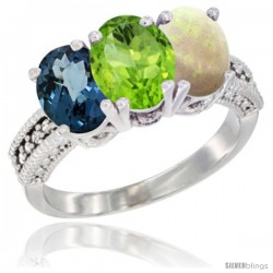 14K White Gold Natural London Blue Topaz, Peridot & Opal Ring 3-Stone 7x5 mm Oval Diamond Accent