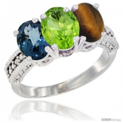 14K White Gold Natural London Blue Topaz, Peridot & Tiger Eye Ring 3-Stone 7x5 mm Oval Diamond Accent