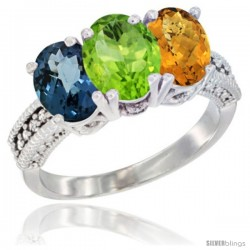14K White Gold Natural London Blue Topaz, Peridot & Whisky Quartz Ring 3-Stone 7x5 mm Oval Diamond Accent
