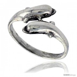 Sterling Silver Double Dolphin Polished Ring 1/2 in wide -Style Tr630