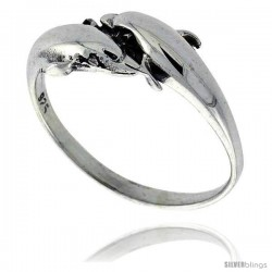 Sterling Silver Double Dolphin Polished Ring 3/8 wide
