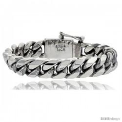 Gent's Sterling Silver Cuban Link Bracelet Handmade 1/2 in wide