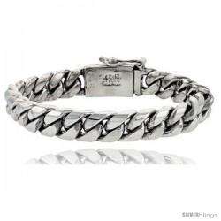 Gent's Sterling Silver Cuban Link Bracelet Handmade 1/2 in wide -Style Lx215