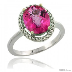 Sterling Silver Diamond Natural Pink Topaz Ring 2.4 ct Oval Stone 10x8 mm, 1/2 in wide -Style Cwg06114