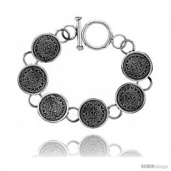 Sterling Silver Aztec Calendar Bracelet Toggle Clasp Handmade 3/4 in wide