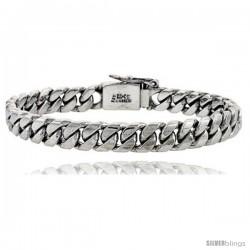 Gent's Sterling Silver Cuban Link Bracelet Handmade 3/8 in wide