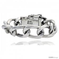 Gent's Sterling Silver Cuban Link Bracelet Handmade 5/8 in wide