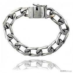 Gent's Sterling Silver Cuban Link Bracelet Handmade 1/2 in wide -Style Lx218