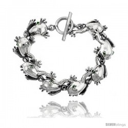 Sterling Silver Frog Bracelet with Toggle Clasp 1 in wide