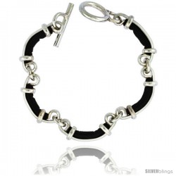 Sterling Silver & Leather Link Bracelet with Toggle Clasp 3/8 in wide