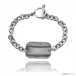 Sterling Silver Medical Emergency Bracelet Rectangular Plaque Toggle Clasp 3/4 in wide